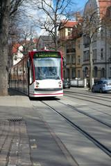 Tram on the Windthorststrasse, Erfurt, Thuringia, Germany