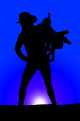 silhouette of a woman with a saddle on her shoulder