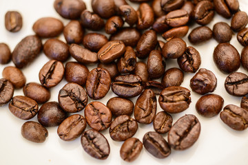 The coffee beans roasted to perfection.