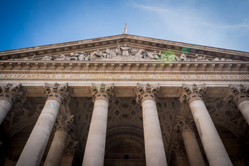Old Royal Exchange building facade, City of London.