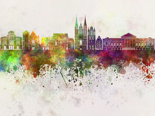 Angers skyline in watercolor background