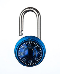 Blue metallic lock isolated on white background