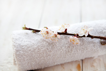 Spa and wellness setting with  cherry blossoms and towel