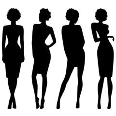 Four slim attractive women silhouettes