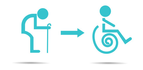 Sign of oldman and wheelchair.Vector illustration