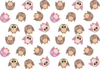 Seamless pattern with cute pink and brown owls