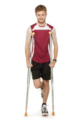 sport man injured fitness on crutches