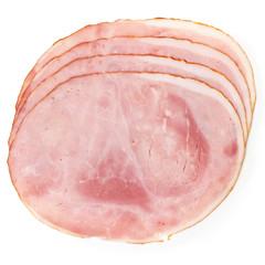 Premium slices of ham arranged on white.