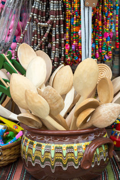 Wooden spoons and spatula kitchen utensils, Plovdiv, Bulgaria