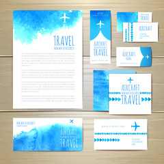 Airplane watercolor artistic document template