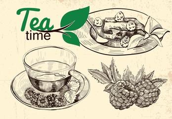tea and raspberries illustration