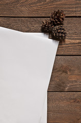 Set of pines and paper sheets on wooden table