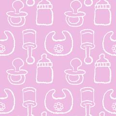 赤ちゃん パターン Baby girl concept - seamless pattern in pink