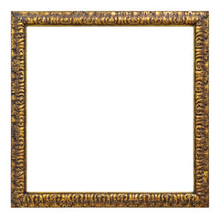 Vintage gold color picture frame isolated on white