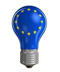 Light bulb with flag of the European union