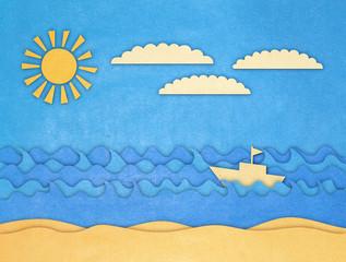 applique of boat and sea