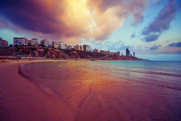 Netanya city at sunset, sea coast. Israel.