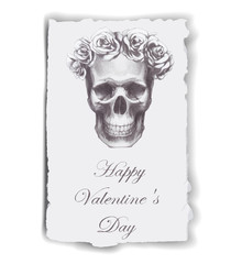 Hand-drawn greeting card for Valentine's Day.
