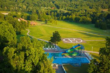 aqua park constructions in swimming pool
