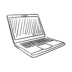 hand draw doodle laptop