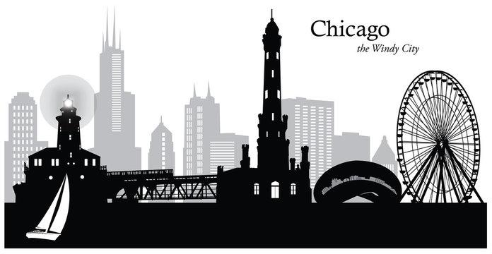 Vector illustration of the Chicago skyline / cityscape