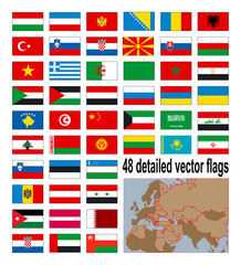 Detailed flags of 48 Europian, Asian and African countries