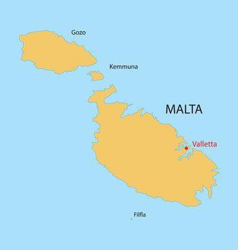 yellow map of Malta