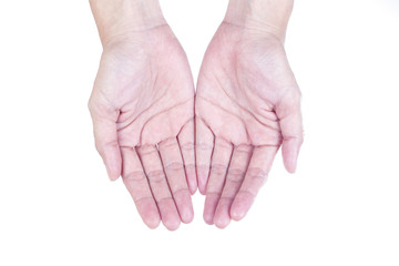two hand, isolated on white background