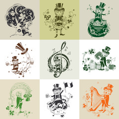 Set of nine illustration for St. Patrick's Day.