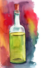 Watercolor bottle of white wine on bright painterly background