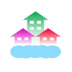 homes with cloud-Logo for construction or home renovation