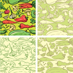Set of seamless patterns with delicious vegetables. Ready to use