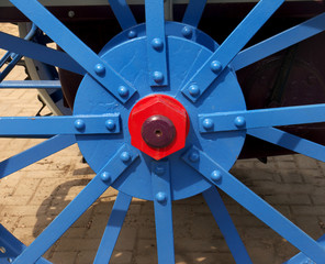 painted wheel hub of old tractor