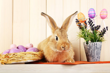 Cute red rabbit with Easter eggs on shelf on wooden wall background