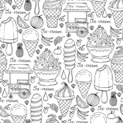 Vector pattern with hand drawn ice cream and fruits on white