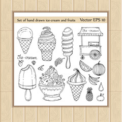 Vector set of hand drawn, isolated ice-cream and fruits doodles