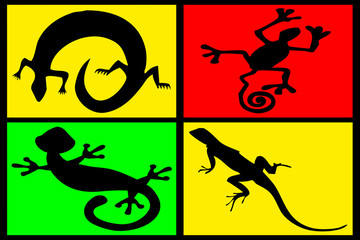 composition of reptiles on multicolored background