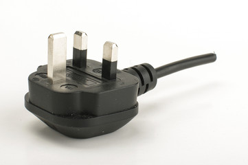 British AC grid electricity plug cut from wire