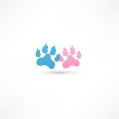 colored footprints. Vector illustration.