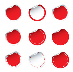 Set of red vector stickers
