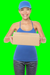 Female package delivery person