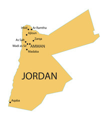 yellow map of Jordan with indication of largest cities
