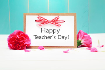 Happy Teachers Day card with pink carnations