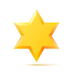 Israel Star of David symbol. Jewish religious culture. Isolated