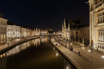 City of Ghent Belgium old historic center by night