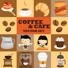 Square coffee and cafe vector set