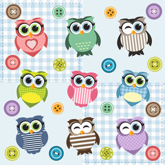 Background with nine textured owls
