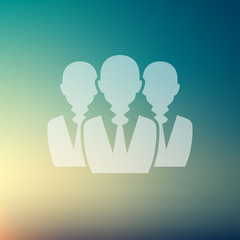 Three men in flat style icon