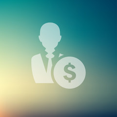 Businessman with dollar sign in flat style icon