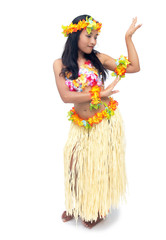 hawaii hula dancer on white background